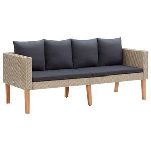 vidaXL kétszemélyes bézs polyrattan kerti kanapé párnákkal kép