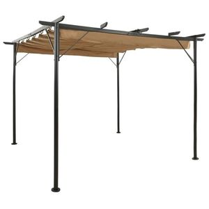vidaXL tópszínű acél pavilon behúzható tetővel 3 x 3 m 180 g/m² kép