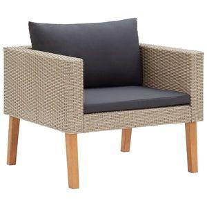 vidaXL egyszemélyes bézs polyrattan kerti kanapé párnákkal kép