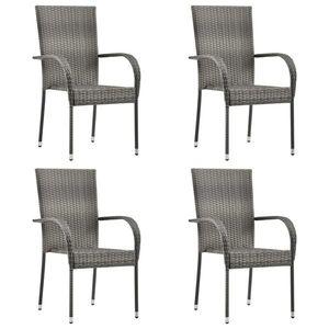 vidaXL 4 db szürke rakásolható polyrattan kültéri szék kép