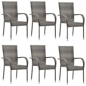 vidaXL 6 db szürke rakásolható polyrattan kültéri szék kép
