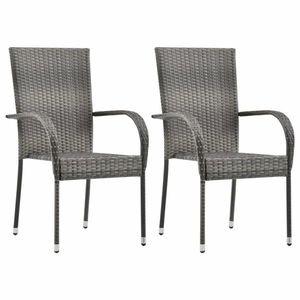 vidaXL 2 db szürke rakásolható polyrattan kültéri szék kép