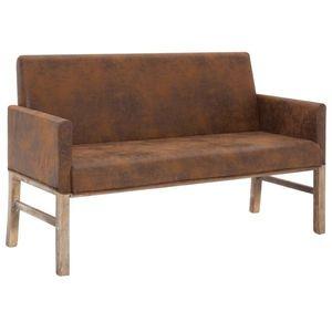 vidaXL barna művelúr pad karfával 140 cm kép