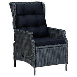 vidaXL sötétszürke dönthető háttámlás polyrattan kerti szék párnákkal kép