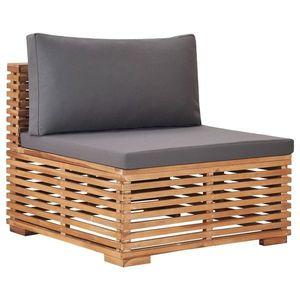vidaXL tömör tíkfa középső kerti kanapé szürke párnával kép