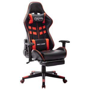 vidaXL fekete és piros műbőr gamer szék lábtámasszal kép