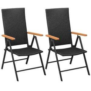 vidaXL 2 db fekete rakásolható polyrattan kerti szék kép