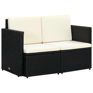 vidaXL fekete kétszemélyes polyrattan kerti kanapé párnákkal kép