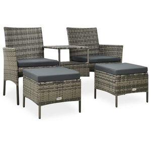 vidaXL 2 személyes szürke polyrattan kerti kanapé asztallal/zsámollyal kép