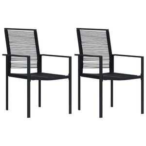 vidaXL 2 db fekete PVC rattan kerti szék kép