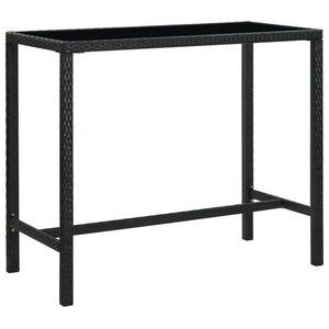 vidaXL fekete polyrattan és üveg kerti bárasztal 130 x 60 x 110 cm kép