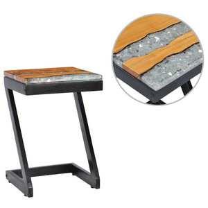 vidaXL tömör tíkfa és műkő dohányzóasztal 30 x 30 x 50 cm kép