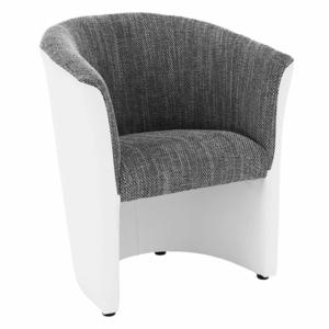 Klub fotel, fehér textilbőr / szürke szövet, CUBA kép