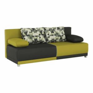 kinyitható kanapé, szürke/zöld/minta párnák, SPIKER kép