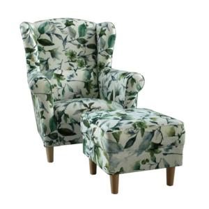 Füles fotel puffal, szövet minta zöld levél, ASTRID kép
