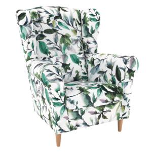 Füles fotel, szövet minta zöld levél, CHARLOT kép