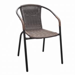 Egymásba rakható szék, barna/fekete fém, DOREN kép