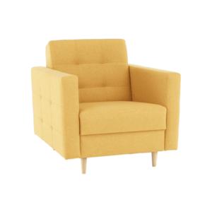 Teljesen kárpitozott fotel, mustár színű anyag, AMEDIA kép