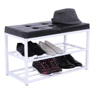 Cipőtároló pad, fekete/fehér, LYROS kép
