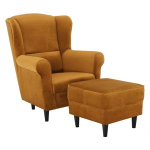 Füles fotel puffal, szövet mustár, ASTRID kép