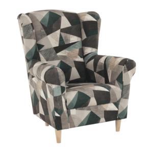 Füles fotel, szövet barna-zöld minta, CHARLOT kép