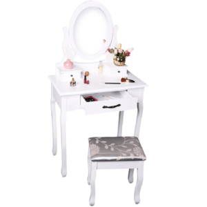 Fésülködőasztal zsámollyal, fehér/ezüst, LINET NEW kép
