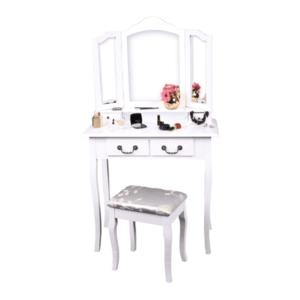 Fésülködőasztal zsámollyal, fehér/ezüst, REGINA NEW kép