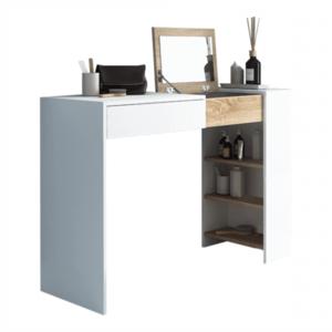Fésülködőasztal/íróasztal, fehér/tölgy sonoma, ELIS kép
