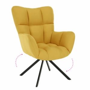 Dizájnos forgó fotel, sárga/fekete, KOMODO kép