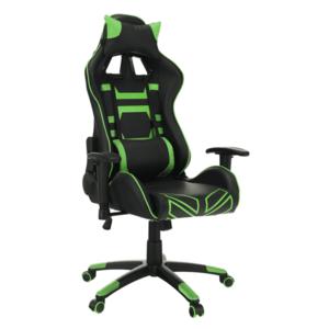 Irodai/gamer fotel, fekete/zöld, BILGI kép