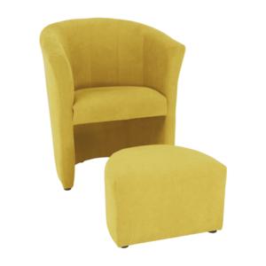 Klub fotel puffal, mustár, ROSE kép