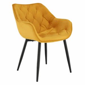 Dizájnos fotel, sárga Velvet anyag, FEDRIS kép