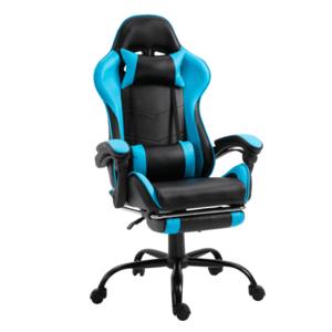 Irodai/gamer fotel lábtartóval, fekete/kék, TARUN kép
