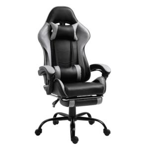 Irodai/gamer fotel lábtartóval, fekete/szürke, TARUN kép