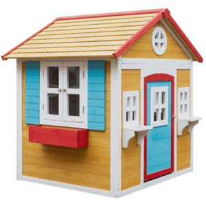 Fából készült kerti ház virágcseréppel, természetes/fehér/kék/piros, AVILO kép