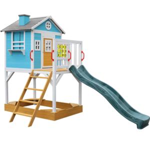 Fából készült kerti ház gyerekeknek csúszdával és homokozóval, PORTIO kép