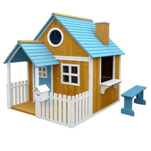 Fából készült kerti ház paddal, verandával és postaládával, BULEN kép