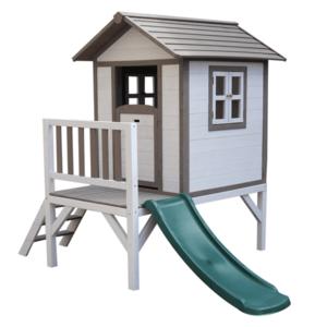 Fából készült kerti ház gyerekeknek csúszdával, szürke/fehér, MAILEN kép