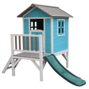 Fából készült kerti ház gyerekeknek csúszdával, kék/szürke/fehér, MAILEN kép