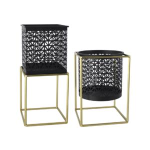 2 darabos virágtartó állvány szett, szögletes/kerek, fekete/arany, ESME SET kép