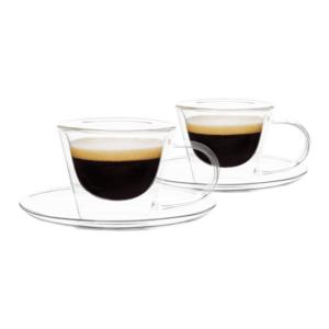 Thermo espresso csésze pohár csészealjakkal, 2db, 80ml, HOTCOOL TYP 4 kép