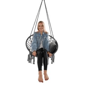 Függő szék, pamut+fém/szürke, AMADO 2 NEW kép