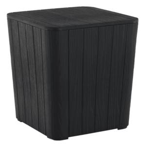 Kerti tároló doboz/kisasztal, fekete, IBLIS kép