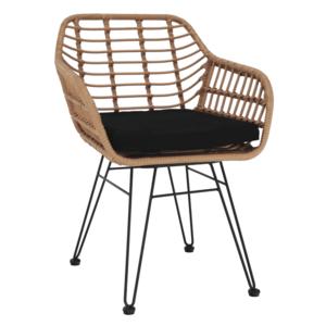 Kerti szék, természetes/fekete, VALIN kép