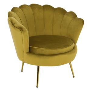 Fotel Art-deco stílusban, mustár színű Velvet anyag/gold chróm-arany, NOBLIN kép
