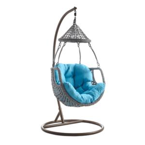 Függő fotel, barna/szürkésbarna/kék, LUANDA kép