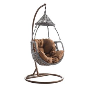 Függő fotel, barna/szürkésbarna, LUANDA kép