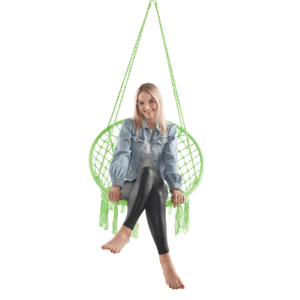 Függő szék, pamut+fém/zöld greenery, AMADO 2 NEW kép