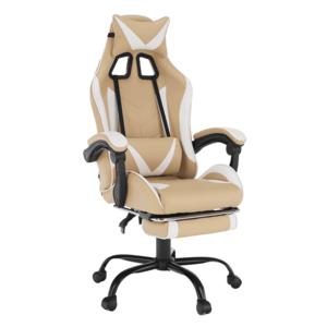 Irodai/gamer fotel, fekete/fehér/bézs, OZGE 2 NEW kép