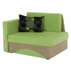Kanapé fotel ágyfunkcióval, zöld+bézs színű, bal oldali kivitel, KUBOS, kép